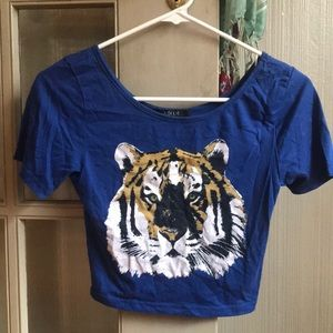 Blue Tiger Crop Top
